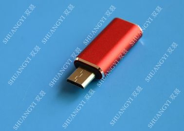ประเทศจีน Red USB 3.1 Type C Male to Micro USB 5 Pin Micro USB Slim For Cell Phone ผู้ผลิต